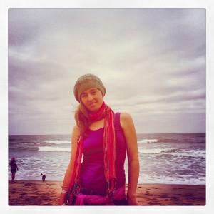 me walking along the beach