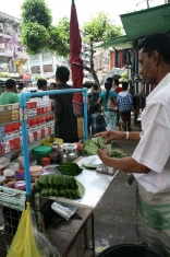 Betel nut stands are everywhere - they wrap a betel nut leaf with tobacco, betel nut and limestone and chew on it and then spit out red spit.